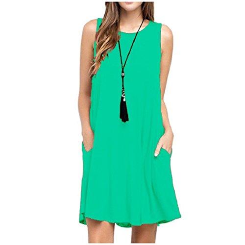 Parte Verde Carro Metà Del Della Luce Camicia Armato Vestito Donne Tasche Plus Maniche size Collana Senza Maglia Mogogo Superiore 1UwHq6c