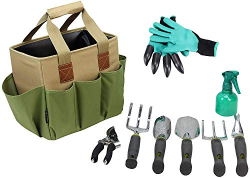 Garden Tool Set | Garden Tools Kit | Gardening Gloves | 9 Piece Garden Tool Set | Digging Claw Gardening Gloves Gardening Gifts Tool Set | Planting Tools | Gardening Supplies Basket | Rake Gloves
