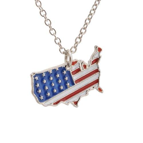 Spinningdaisy Silver American America Necklace