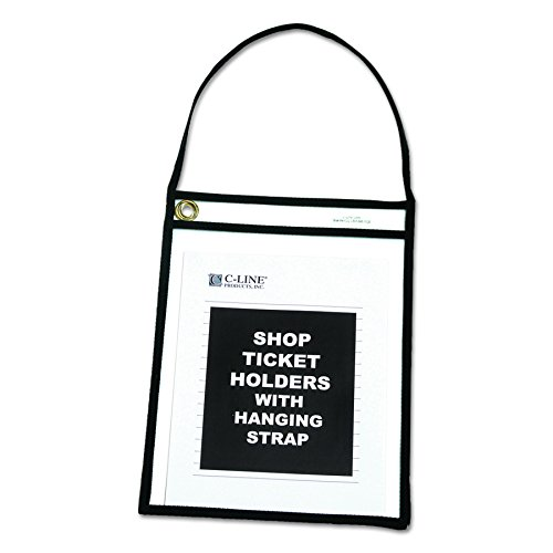 (C-Line Shop Ticket Holders with Straps, Stitched, Black, Both Sides Clear, 9