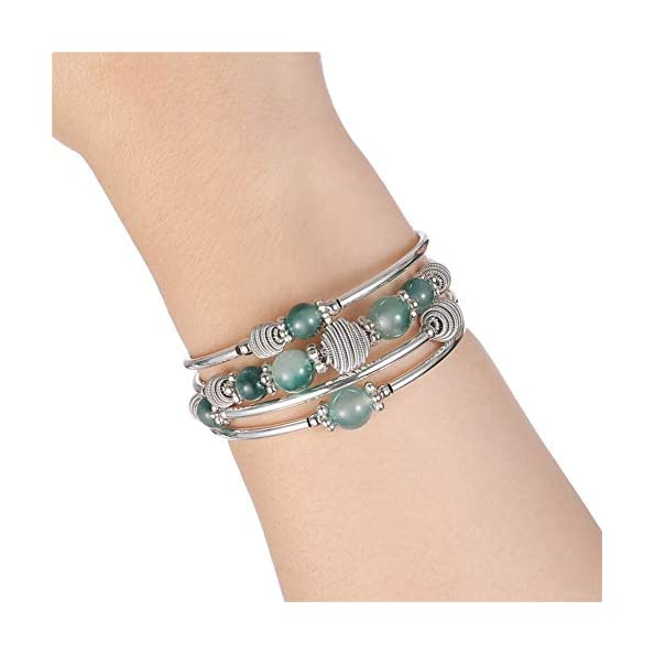 Beaded-Chakra-Bangle-Turquoise-Bracelet-Fashion-Jewelry-Wrap-Bracelet-with-Thick-Silver-Metal-and-Mala-Beads-Birthday-Gifts-For-Women