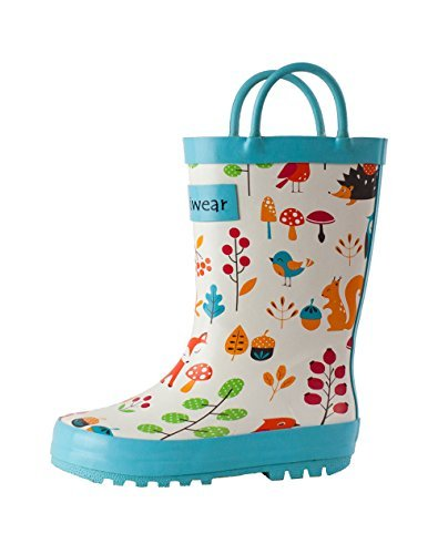 OAKI Kids Rubber Rain Boots with Easy-On Handles, Forest Animals, 4T US Toddler