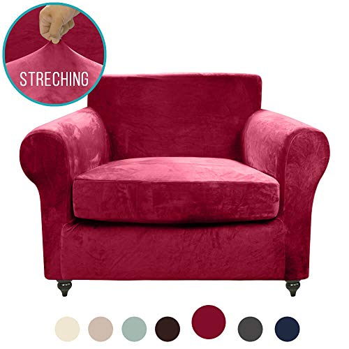 MOYMO 2-Piece Stretch Velvet Chair Covers, High Stretch Chair Slipcover, Slipcovers for Chairs, Chair Slip Cover for Leather Chair Couch, Living Room,Pets,Dogs,Child (Chair:Burgundy) 2 Piece Leather Chair