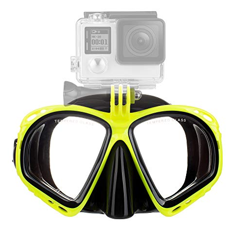 Diving Mask with GoPro Mount Scuba Mask for Snorkeling and Swimming - Fits All GoPro Models and Some Other Action Cameras - Durable Construction with Tempered Glass and Strong Silicone