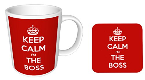 Keep Calm I'm the Boss - Glossy Ceramic Mug and Coaster Set