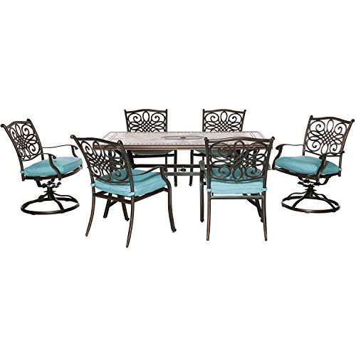 (Hanover MONDN7PCSW-2-BLU Monaco 7-Piece Set in Blue with 4 Dining Chairs, 2 Swivel Rockers, and a 40