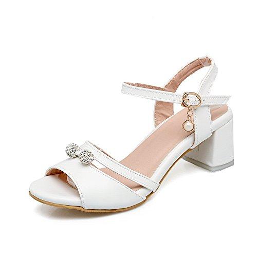 AdeeSu Womens Studded Mini-Size Dress Urethane Sandals SLC03969 White 6Cz9kGOMJ