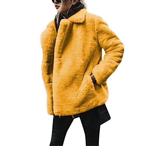 Yellow Sciolto Con In Sintetica Lunghe Capispalla Pelle Maniche 40AnZqygS