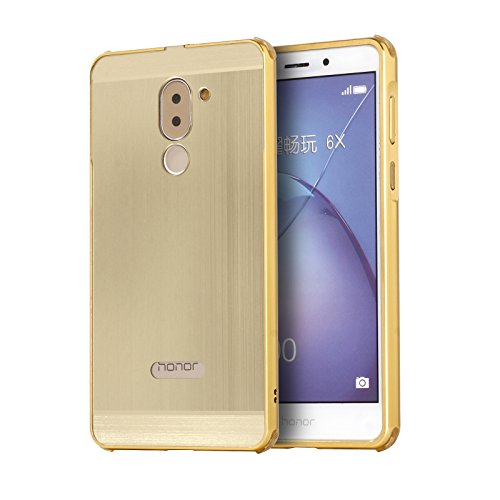 Honor 6X Case, ZLDECO Stylish Edge Shockproof Metal Frame +Acrylic Plastic Back Case Bumper Cover with 1 Tempered Glass Screen protector Protective for HuaWei Honor 6X Smartphone (Champagne Gold)