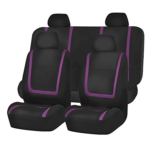 FH Group FB032PURPLE114 Purple Unique Flat Cloth Car Seat Cover (w. 4 Detachable Headrests and Solid Bench) by FH Group