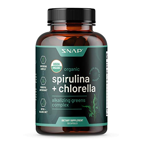USDA Organic Chlorella Spirulina Capsules – Green Superfoods for Heart Support, Natural Energy & Glucose Control – Plant…