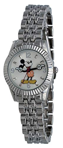 Disney MCKAQ1566 Women's Mickey Mouse Silver Tone Classic Fluted Bezel Watch ()