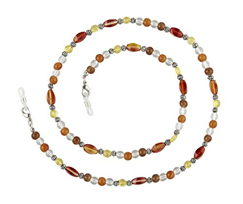 Beaded Chain Loop (Beaded Glass Eyeglass Chain Holder Fashion Lanyard Necklace, Celia Brown)