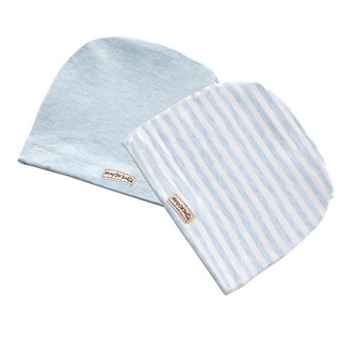 MMBABY 2 Packs of Infant Toddler Baby Unisex 100% Cotton Soft Cute Lovely Newborn Kids Hat Beanies Caps (3-6 Months, L-Blue-BB0012)