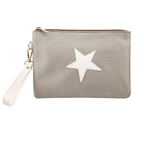 Wallet Pentagram (Gabrine Womens Cosmetic Makeup Travel Wash Bag Wristlet Wallet Clutch Purse Evening Envelop Bag Pentagram(Silver & White))