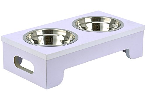 "BINGPET Elevated Dog Bowls Raised Pet Feeder with Double Stainless Steel Dishes for Food and Water 15.2"" X 8""X 4"""