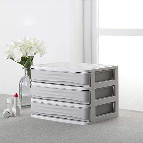 iHomei Plastic Cosmetic Drawer Makeup Organizer Makeup Storage Box Container Nail Casket Holder Desktop Sundry Storage Case, 3 layer drawer -gray