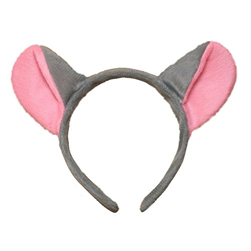 Grey and Pink Mouse Ears Alice Hair Band Headband Fancy Dress (Halloween Mouse Ears Uk)