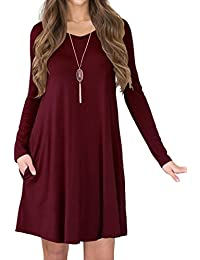 Women's V-Neck Pockets Casual Swing Loose T-shirt Dress