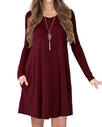 Jouica Women's Long Sleeves Casual Loose T-Shirt Dress (Wine Red XL)