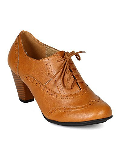 Refresh BH50 Women Leatherette Lace Up Oxford Chunky Heel Bootie - Tan (Size: 10) (Womens Tan Oxford)