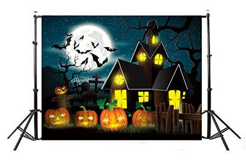 KSZUT 7x5ft Happy Halloween Photo Backdrop Photography Background for Halloween Party Decorations Studio Photo Props DZ-774 ()