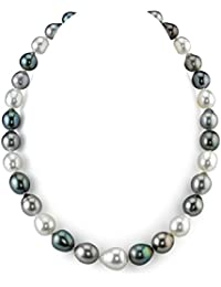 "14K Gold 9-12mm Tahitian & White South Sea Multicolor Baroque Cultured Pearl Necklace - AAA Quality, 18"" Length"