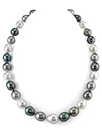 9-12mm Tahitian & White South Sea Multicolor Baroque Cultured Pearl Necklace - AAA Quality, 20 Inch Matinee Length, 14K Gold