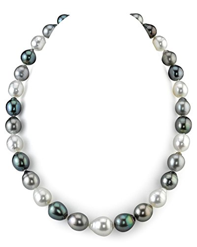 14K Gold 9-12mm Tahitian & White South Sea Multicolor Baroque Cultured Pearl Necklace - AAA Quality, 18
