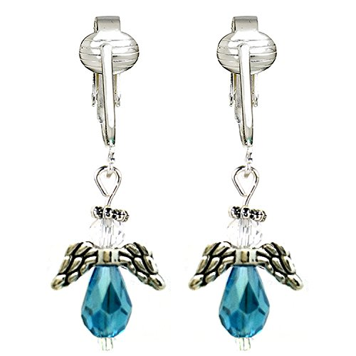 n Earrings for Ladies & Girls-Angels, Trees, Santa, Lights, Holly Berry, Snow Holiday (Shimmer Blue Crystal Angel) ()
