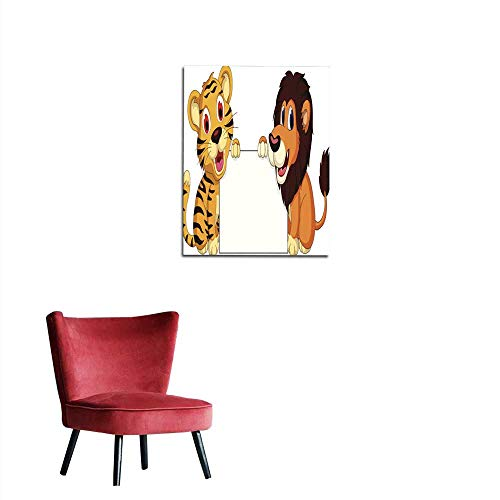 Corridor/Indoor/Living Room Cute Lion and Tiger Cartoon Holding Blank Sign Mural 20