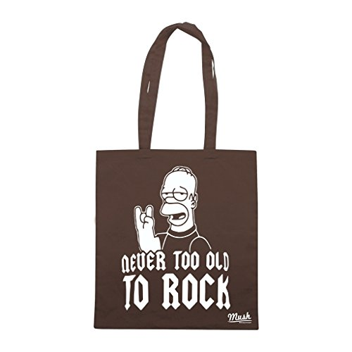 Borsa Never Too Old To Rock - Marrone - Funny by Mush Dress Your Style