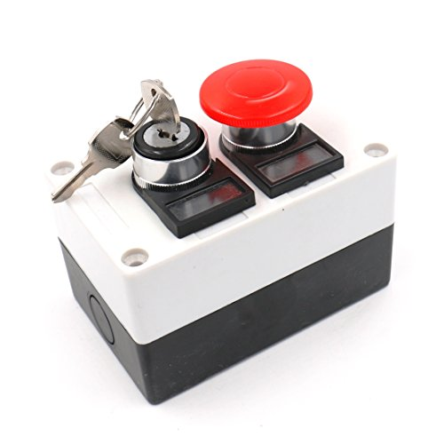 Baomain Key Lock on/off Switch Red Mushroom Push Button Station by Baomain