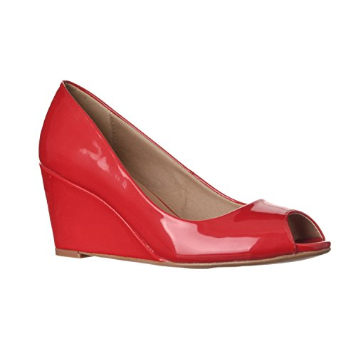 Riverberry Women's Addie Mid-Height Peep Toe Wedge Pumps, Red Patent, 9
