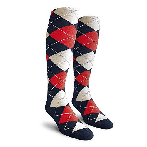 Argyle Golf Socks: Over-the-Calf - Navy/Red/White - Mens (Mens Argyle Golf Socks)