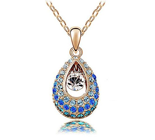 KATGI Fashion Austrian Crystal Angel Teardrop Pendant Necklaces (Sky Blue)