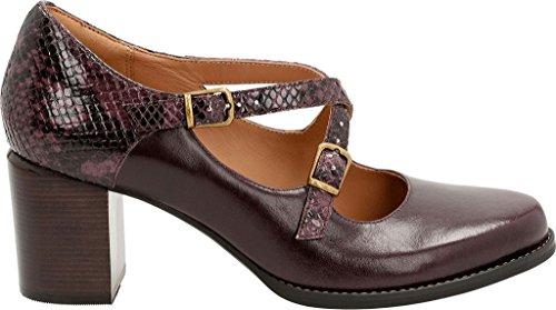 Clarks Womens Tarah Presley In Pelle A Punta Chiusa Cinturino Alla Caviglia Mary Jane Pumps In Pelle Melanzana