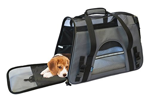 KritterWorld Soft Side Pet Carrier Travel Bag for Small Dogs and Cats Airline Approved | Removable Sherpa Lining Bed, Safety Buckle Zippers, Seat Belt Buckle Included by Gray by KritterWorld