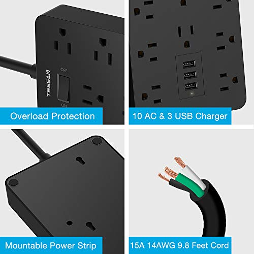 Surge Protector Flat Plug with 9.8 Ft Extension Cord, TESSAN USB Power Strip with 10 Widely Spaced AC Outlets and 3 Charging Ports, 1875W/15A, 1700 Joules, Wall Mount Outlet Strip for Home, Office