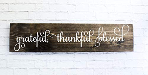 (Dark Walnut Cursive Grateful Thankful Blessed Wooden Sign Rustic Handmade Decor)