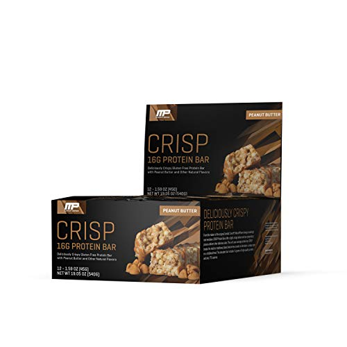 MusclePharm Crisp Protein Bar, 16 Grams of Protein, Delicious Protein Bar, Banned-Substance Tested, Peanut Butter, Non-GMO, Gluten-Free, Low in Sugar and Carbs, 12 Servings