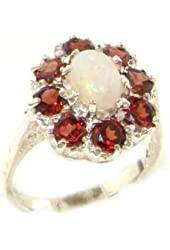 10k White Gold Natural Opal and Garnet Womens Cluster Ring - Sizes 4 to 12 Available