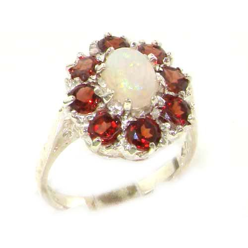 - 925 Sterling Silver Real Genuine Opal and Garnet Womens Cluster Engagement Ring - Size 6