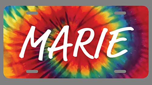 JMM Industries Marie Name Tie Dye Style License Plate Tag Vanity Novelty Metal 6-Inches by 12-Inches Premium Quality UV Print NP1489