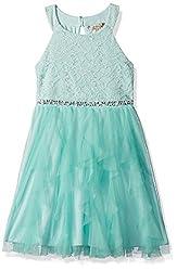 Girls Sequin Lace Mesh High Neck Dress