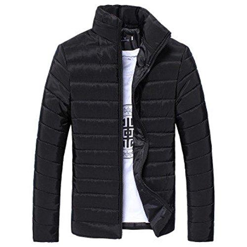 Leedford Fashion Jacket, Men Cotton Stand Zipper Warm Winter Thick Coat Jacket (Black, 2XL) by Leedford Men's Tops