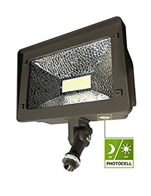 LED Flood Light, Dusk-to-Dawn Photocell, 180° Adjustable Knuckle, Waterproof Outdoor Area Lighting, 5000K Daylight