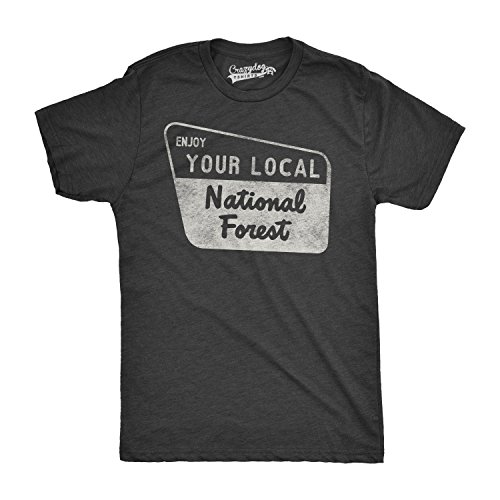 Mens Enjoy Your National Forest Funny Outdoor Vintage Camping Mountains T Shirt (Black) - XXL