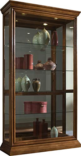 Pulaski Two Way Sliding Door Curio, 43 by 16 by 80-Inch, Medium Brown