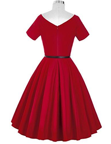 Short Sleeve Vintage Party Swing Dress V-Back Size L BP097-2